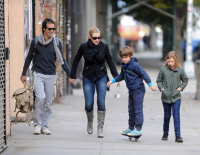 Kate Winslet and her kids go out with her boyfriend Ned Rocknroll in NYC